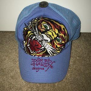 Blue Ed Hardy Trucker Hat